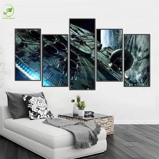 5-Pieces-set-Star-Wars-Millennium-Falcon-Modern-Home-Wall-Decor-Canvas-Picture-Art-HD-Print