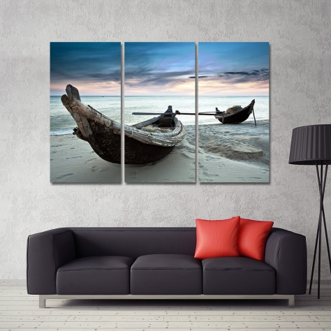 -Dropshipping-Oil-Painting-Canvas-Beach-Landscape-Boat-Wall-Art-Home-Decor-Modern-Wall-Picture-For