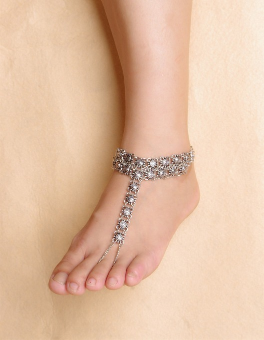 Gypsy-Antique-Silver-Turkish-Flower-Statement-Anklet-Ankle-Bracelet-Beach-Foot-Jewelry-Ethnic-Tribal-Festival-Jewelry