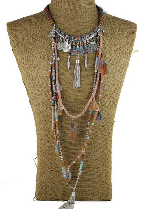 Gypsy-Statement-Vintage-Long-Necklace-Ethnic-jewelry-boho-necklace-tribal-collar-Tibet-Jewelry