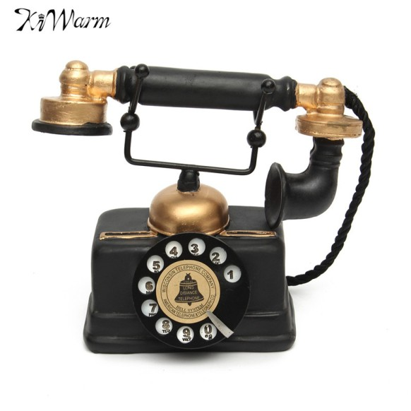 Hot-Selling-Vintage-Rotary-Telephone-Statue-Antique-Shabby-Chic-Old-Phone-Figurine-Decor-for-Home-Desk
