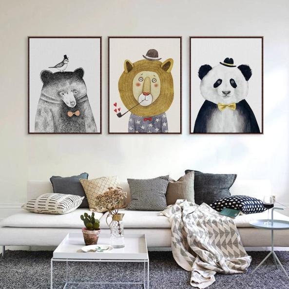 Triptych-Watercolor-Nordic-Animal-Lion-Bear-Panda-A4-Art-Prints-Poster-Hipster-Wall-Picture-Canvas-Painting